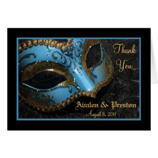 Teal Masquerade Mask Wedding Thank You Note Card