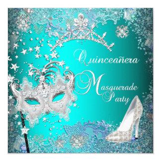 Teal Masquerade Quinceanera 15th Party Tiara Shoe Card