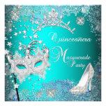 Teal Masquerade Quinceanera 15th Party Tiara Shoe Custom Invites