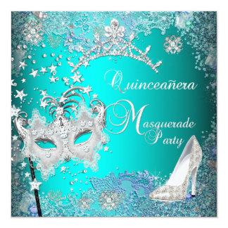 "Teal Masquerade Quinceanera 15th Party Tiara Shoe 5.25"" Square Invitation Card"