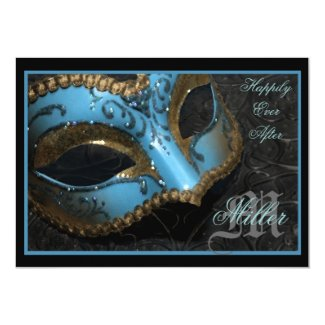 "Teal Masquerade Renaissance Wedding Invitation 5"" X 7"" Invitation Card"
