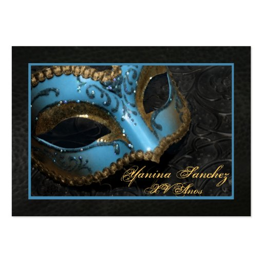 Teal Masquerade RSVP Business Cards