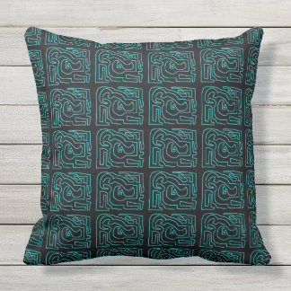 Teal Maze On Black Outdoor Jumbo Pillow