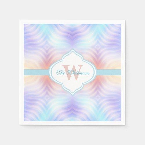 Teal Melon Lavender Monogram Paper Napkin