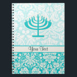 """Teal Menorah Notebook<br><div class=""""desc"""">You will love this cute teal damask Jewish Hanukkah Menorah design. Great for gifts! Available on tee shirts, smart phone cases, mousepads, keychains, posters, cards, electronic covers, computer laptop / notebook sleeves, caps, mugs, and more! Visit our site for a custom gift case for Samsung Galaxy S3, iphone 5, HTC...</div>"""