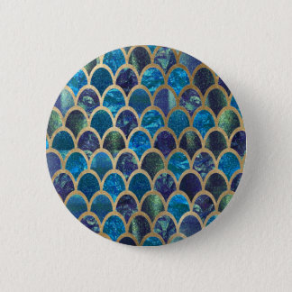 Teal mermaid scales pinback button