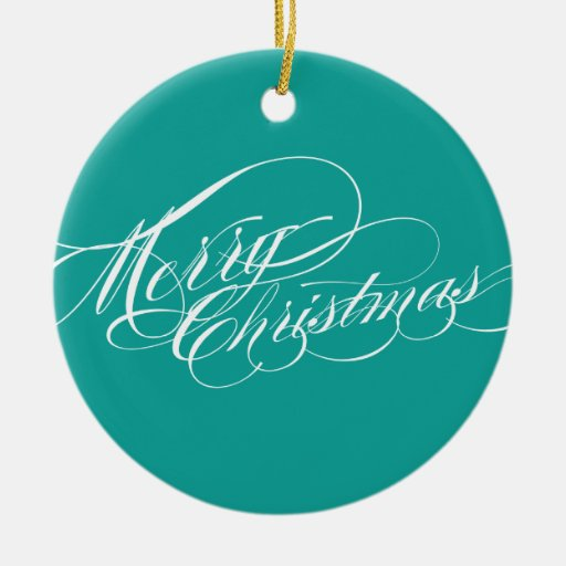 Teal Merry Christmas Photo Ornament