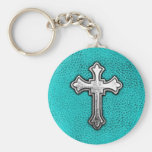 Teal Metal Cross Basic Round Button Keychain
