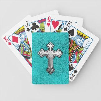 Teal Metal Cross Bicycle Playing Cards
