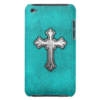 Teal Metal Cross Barely There iPod Case