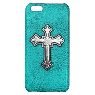 Teal Metal Cross Case For iPhone 5C