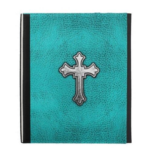 Teal Metal Cross iPad Case