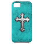 Teal Metal Cross iPhone 5 Cases