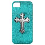 Teal Metal Cross iPhone 5 Covers