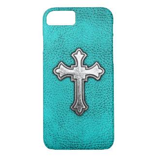 Teal Metal Cross iPhone 7 Case
