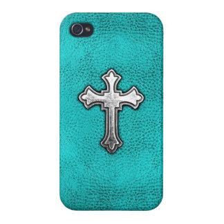 Teal Metal Cross iPhone 4/4S Cases