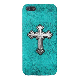 Teal Metal Cross Covers For iPhone 5