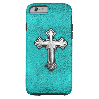 Teal Metal Cross iPhone 6 Case