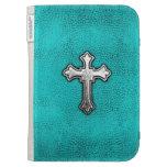 Teal Metal Cross Kindle Covers