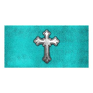Teal Metal Cross Photo Greeting Card