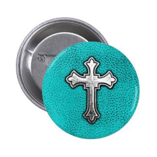 Teal Metal Cross Pinback Button