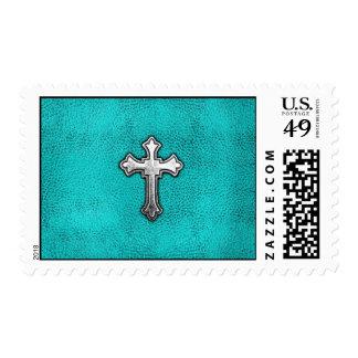 Teal Metal Cross Postage