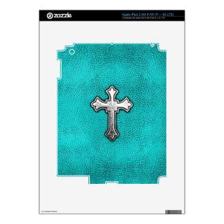 Teal Metal Cross Decals For iPad 3