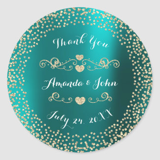 Teal Metallic Glitter Save the Date Thank You Classic Round Sticker
