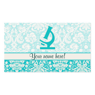 Teal Microscope; Cute Business Cards