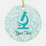 Teal Microscope; Cute Double-Sided Ceramic Round Christmas Ornament
