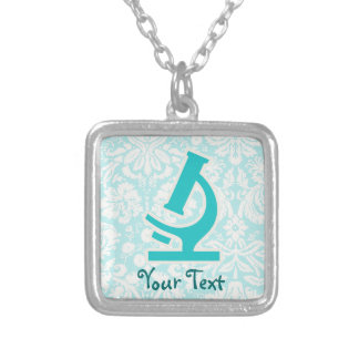 Teal Microscope; Cute Square Pendant Necklace