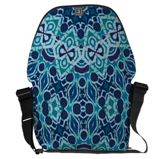 teal midnight coral reef batik kaleidoscope design courier bag