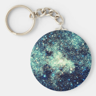 Teal Milky Way Galaxy Basic Round Button Keychain