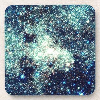 Teal Milky Way Galaxy Drink Coaster