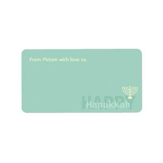 Teal Minimalistic Menorah Hanukkah Address Label