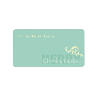 Teal Minimalistic w Floral Detail Merry Christmas Address Label