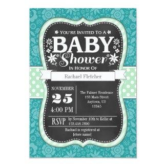 Teal Mint Chalkboard Floral Baby Shower Invite