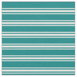 [ Thumbnail: Teal & Mint Cream Stripes/Lines Pattern Fabric ]