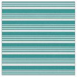 [ Thumbnail: Teal & Mint Cream Stripes/Lines Pattern Fabric ]