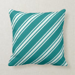 [ Thumbnail: Teal & Mint Cream Stripes/Lines Pattern Pillow ]