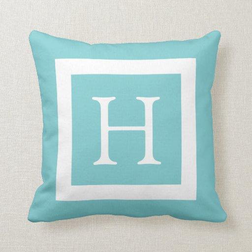 Teal Mint Custom Monogram Throw Pillow