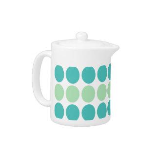 Teal & Mint Dots Pattern Designer Teapot