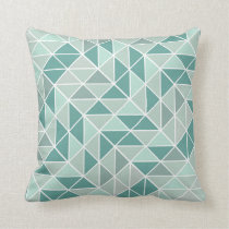 Teal Mint Gray Abstract Triangle Pattern Throw Pillow