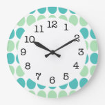 Teal & Mint Green Dots on White Modern Wall Clock
