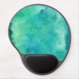 Teal Mint Green Watercolor Texture Pattern Gel Mouse Pad