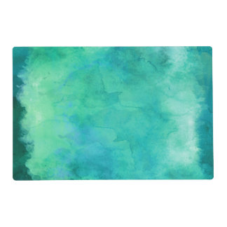 Teal Mint Green Watercolor Texture Pattern Laminated Placemat