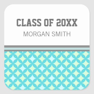 Teal Mint Pattern Graduation Custom Year Name Square Sticker