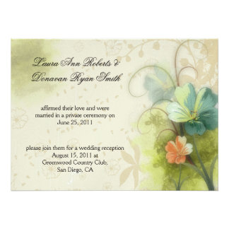 Teal Mint Peach Watercolor Abstract Florals Post W Announcement