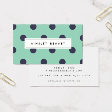 Professional Business Teal Mint Polka Dots Patterned Business Cards
