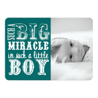Teal Miracle Boy | Photo Birth Announcement